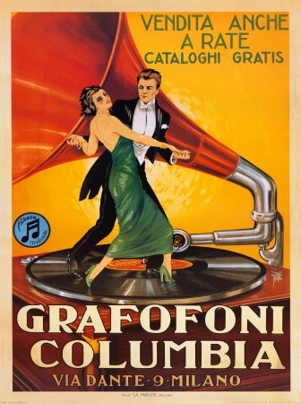 quotGrafofoni Columbiaquot Music Gramophone Player Vintage Advertising Poster  Couple Dancing 24x 36quot