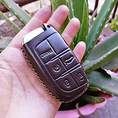 Coolbestda Brown Leather 5butons Key fob Remote Cover Protector Keyless Entry Holder for 2020 2020 2016 Jeep Grand Cherokee Dodge Challenger Charger Dart Durango Journey Chrysler 300 200: Automotive