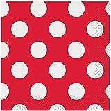 Polka Dot Beverage Napkins, Red, 40 Count
