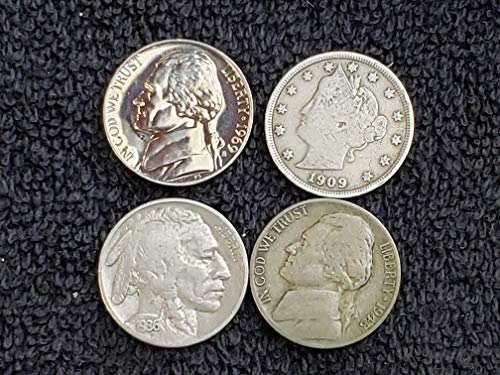 Lot of 4 Different Type Nickels - Liberty (1883-1912), Buffalo (1913-1938), Silver War Nickel (1942-45) and Proof Jefferson (1956-1999) 5c All grade Good and Better