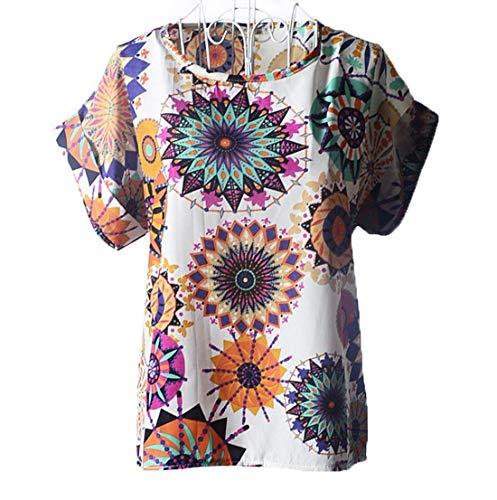 Tunica Da T Shirt Estiva Corta Print Donna Tops Girocollo Chiffon Manica Camicetta Shirts Fashion color M Size Patterned White4 Casual PzwqC8x