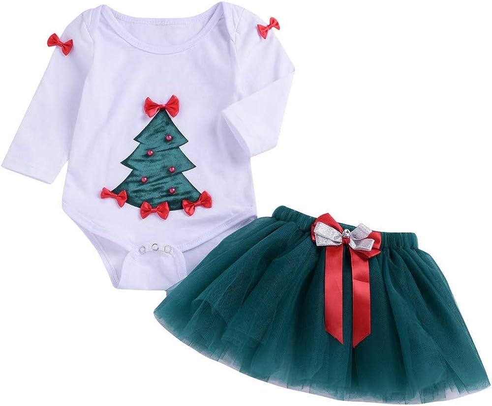 Hongxin Newborn Baby Romper Set,Cute Christmas Tree Tops+Bow Tutu Skirt Outfits Set