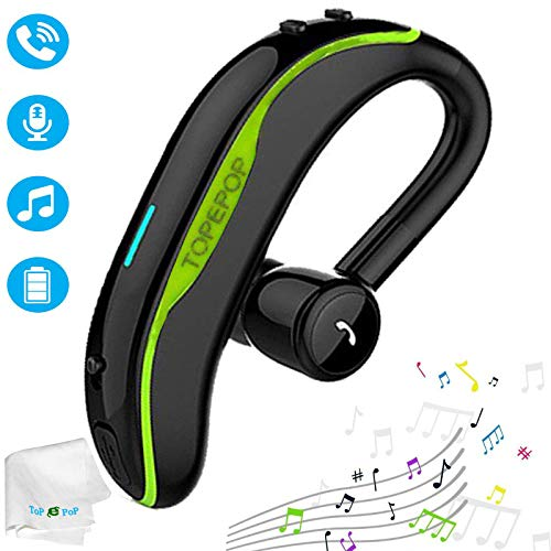 Bluetooth Headset Wireless Headphones Handsfree Call Earpiece Noise Cancelling Earbud Long Talk Time Earphone Compatible with Smart Cell Phones Car Driver Trucker Business Office Men Women - Cell Green Phone