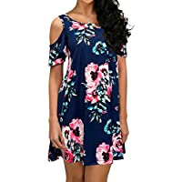 QIXING Women's Summer Cold Shoulder Tunic Top Swing T-Shirt Loose Dress with Pockets