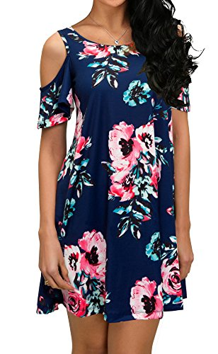 QIXING Women's Summer Basic Cotton Short Sleeve Pockets Loose Casual Floral Print Dress Navy Blue-M
