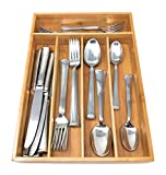 Brightways Home Bamboo Cutlery Tray - Use For Kitchen Silverware - Flatware - Organize Your Single Serve Coffee - Keep Your Kitchen Drawers Organized