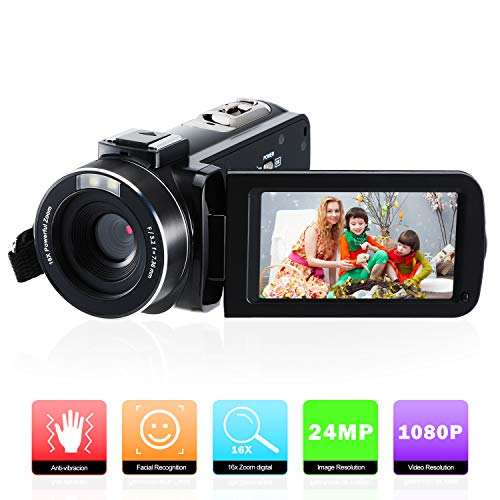 Video Camera Camcorder FamBrow Digital YouTube Vlogging Camera Recorder Full HD 1080P 24MP 3.0 Inch 270 Degree Rotation LCD 16X Digital Zoom Camcorder with 2 Batteries
