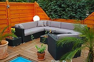 Conjunto de muebles de jardín Ragnarök-Möbeldesign, marca alemana, producción propia, muebles de jardín con vidrio y cojines de Ragnarök-Möbeldesign (negro), muebles de jardín: Amazon.es: Jardín