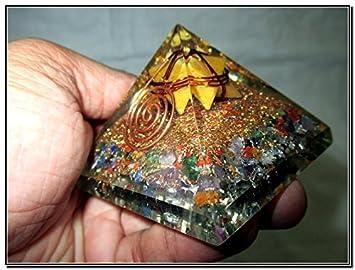 Mezcla de flor amarillo Jade Merkaba Chakra Orgón Pirámide brillantes Cobre Metal mezcla rara Curación Positiva