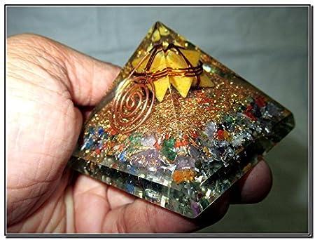 Mezcla de flor amarillo Jade Merkaba Chakra Orgón Pirámide brillantes Cobre Metal mezcla rara Curación Positiva Energía Tetraedro Geometría Sagrada ...