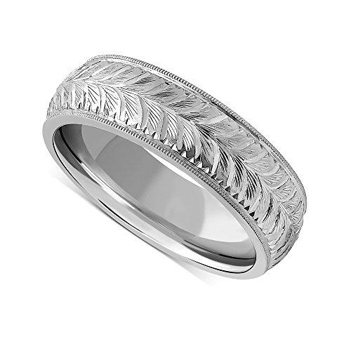 (Platinum Wheat Pattern Engraved Vintage Mens Wedding Ring 7mm)