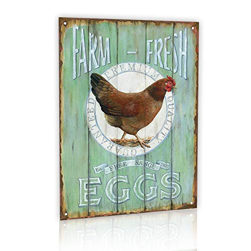 M-Mount Designs Farm Fresh Free Range Eggs Retro Garage Tin Signs Vintage Sign Country Home Bar Wall Decor Art Poster 8x12Inch ()