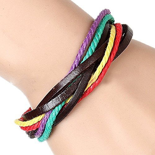 Gracallet® Green/Purple/Hot Pink/Yellow Fashion Adjustable PU Leather Cotton Rope Material Wristband Cuff Bracelet for Men, Women, Boys, Girls (BR/String-Green/Purple/Hot Pink/Yellow)