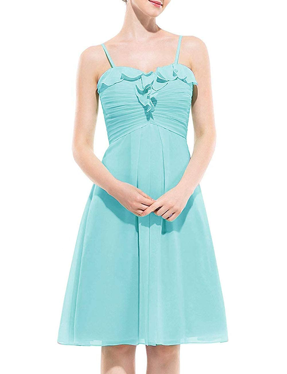 Ice bluee Uther Spaghetti Strap Bridesmaid Dress Short Homecoming Party Cocktail Dresses