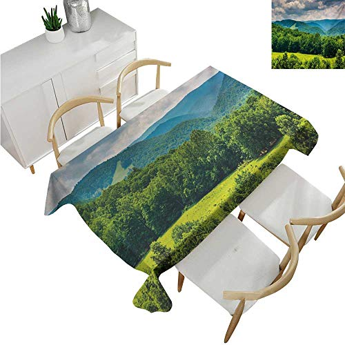 (familytaste Landscape,Thanksgiving Tablecloth,View of Mountains in Potomac Highlands of West Virginia Rural Scenery Picture,Printed Tablecloth 70