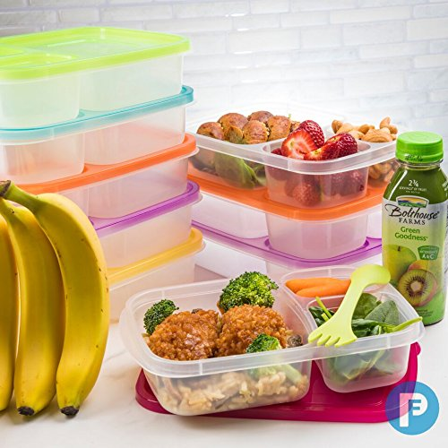 Bento Lunch Box 3 Compartment Food Containers – Set of 4 Storage Meal prep Container Boxes– Ideal for Adults, Toddler, Kids, Girls, and Boys – Free 2-in-1 Fork/Spoon & Puzzle Sandwich Cutter by Perfect Fit (Image #1)