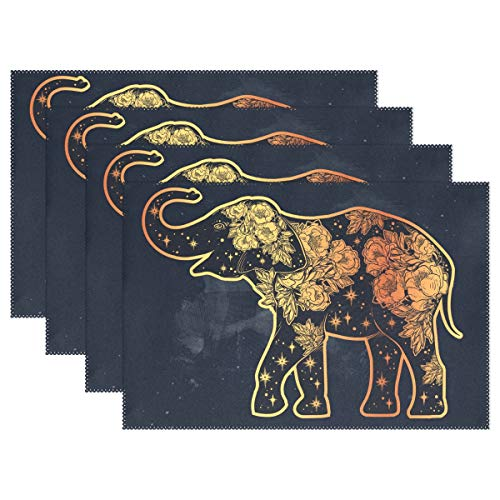 - U-Life Sacred Elephant Mandala Vintage Plate Place Mats Placemats Placemat Tray Mat 12 x 18 Inch for Kitchen Dining Table