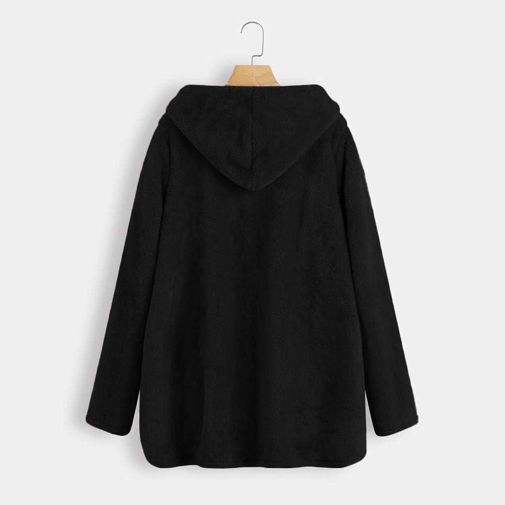 Lazapa Cardigan Coat for Women Vintage Fall Winter Plus Velvet Thicken Lightweight Warm Hooded Plush Windbreaker Jacket