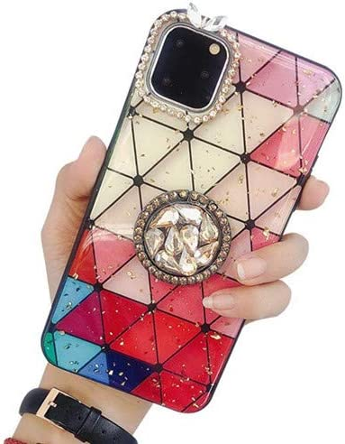 Lozeguyc iPhone 11 Pro Max Bling Marble Kickstand Case,iPhone 11 Pro Max Luxury Soft Hard Back Case Shiny Glass Shockproof Ring Stand Cover for iPhone 11 Pro Max 6.5 Inch-Red