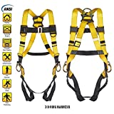 fall protection harnesses - 3 D-Ring Industrial Fall Protection Safety Harness ANSI Certified Full Body Personal Protection Equipment 5-Point Adjustment Universal 310 lbs