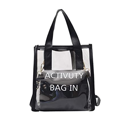 2202ccf9df1 Amazon.com | Sameno Clear Bag ✿ Womens 2 in 1 Transparent Tote Bag ...