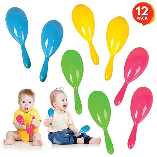 """ArtCreativity 4"""" Plastic Maracas for Kids (12 Pairs) 