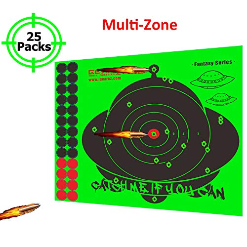 "Neon Green Adhesive UFO Paper Shooting Splatter Targets-10""x11"" High Visibility Neon Green Shooting Range Target Stickers With 26 Pieces Of 3/4"" Bulleye Cover Up Patches For All Firearm Calibers"