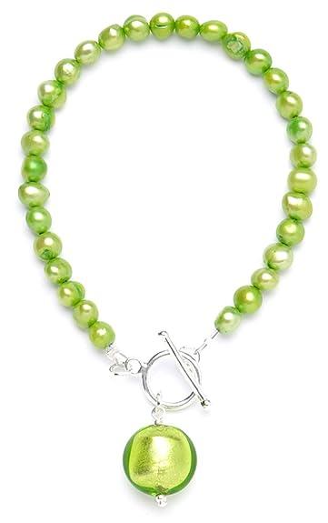 Amanti Venezia Green Freshwater Pearl and Lime Green Murano Drop Earrings of 4.8 cm SoISx