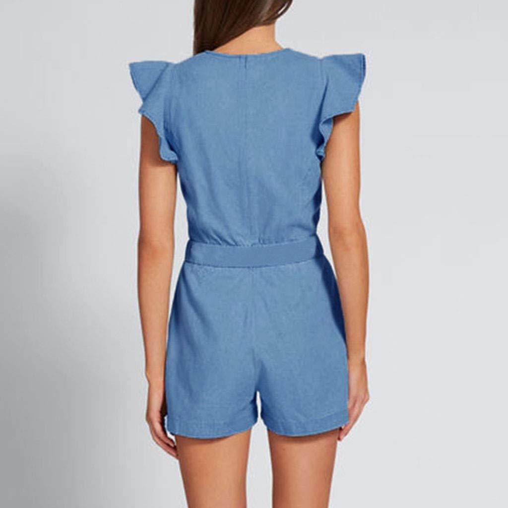 Fitfulvan Women Jumpsuit Ruffles Pockets Sleeveless Denim Playsuit Clubwear Shorts Jumpsuit