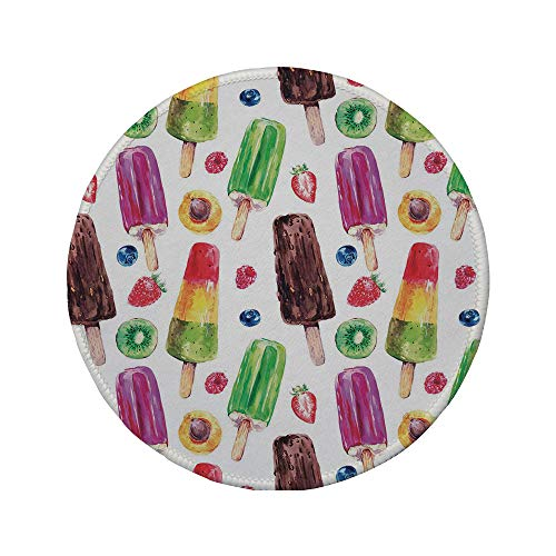 Non-Slip Rubber Round Mouse Pad,Sweet Decor,Yummy Cute Vivid Ice Creams with Fruit and Chocolate Flavors Kiwi Watercolor Design,Multi,7.87