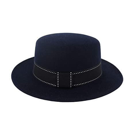 92da6991fcc Alimao Retro style Fashion Unisex 2019 New Wide Brim Wool Felt Flat Top Fedora  Hat Party Church Trilby Hats Beige at Amazon Women s Clothing store