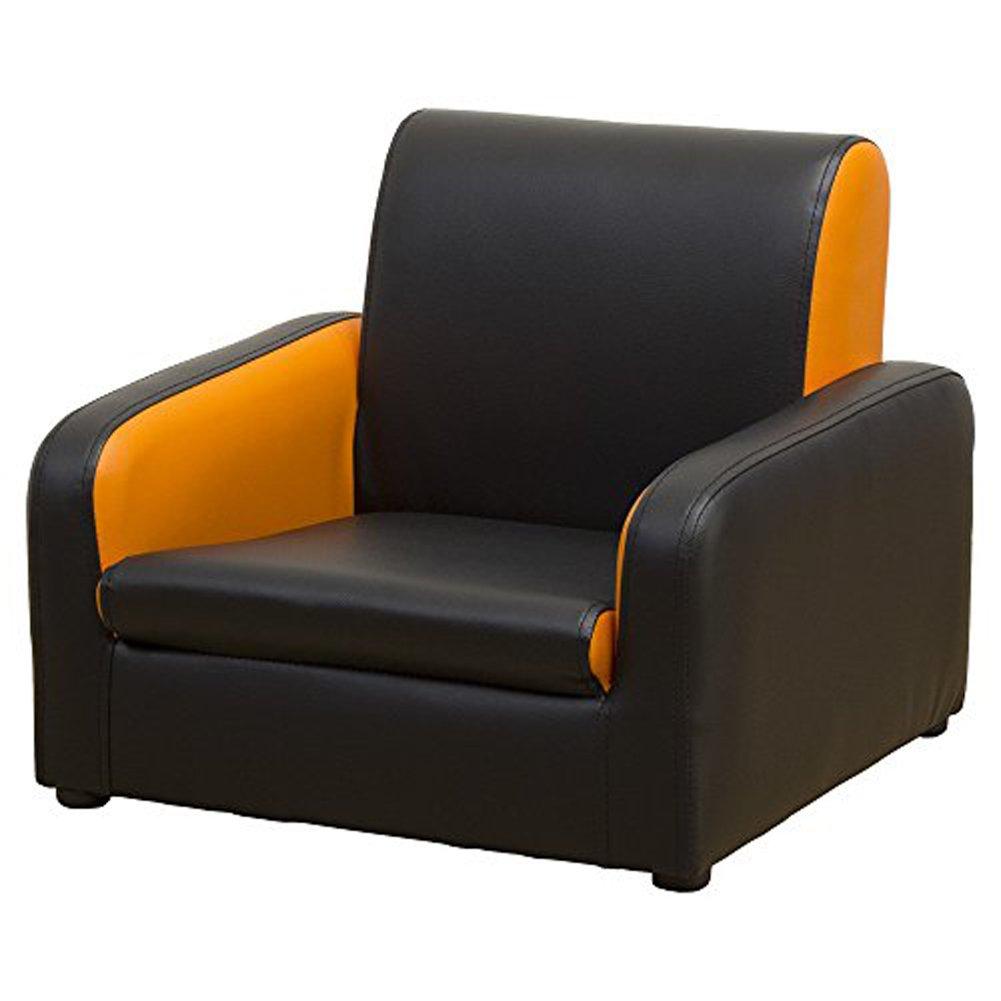 キッズ ソファ チャイルド ソファ 子供用 ソファ / Moco ブラック/オレンジ B01NAVPDNP ブラック/オレンジ ブラック/オレンジ
