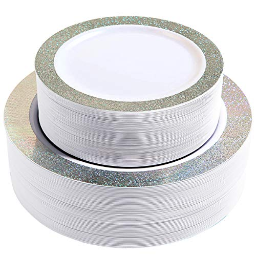 102 Premium Heavyweight Disposable Plastic Plates-Wedding and Party Dinnerware 51PCS 10.25 inch Dinner Plates And 51PCS 7.5 inch Dessert/Salad Plates Silver Rim Pearl - Value Pack 102Count (Silver)]()