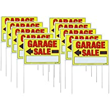 "Sunburst Systems 32""H x 22""W Double-sided Garage Sale Signs with Wire U-Stakes, 10 Pack"