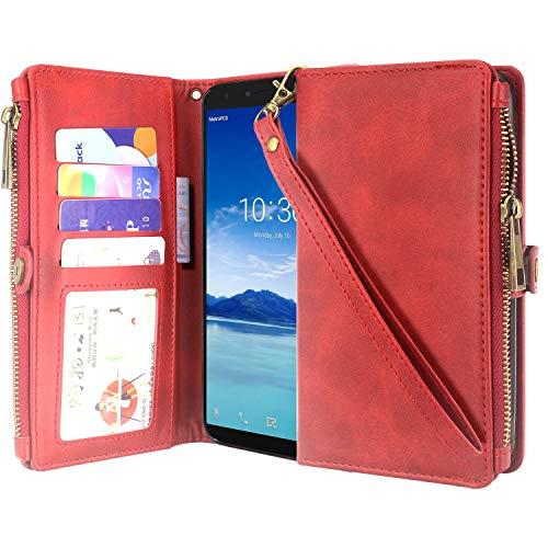Alcatel 7 Case, Alcatel Revvl 2 Plus 6-inch (2018) Case, Lacass Premium Leather Flip Zipper Wallet Case Cover Stand Feature with Card Holder and Wrist Strap for Alcatel 7 Folio (Red)