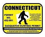 JS Artworks Connecticut Sasquatch Hunting Permit License Bigfoot Vinyl Sticker Decal