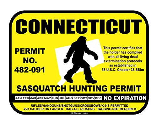 Connecticut Sasquatch Hunting Permit License Bigfoot Vinyl Sticker Decal