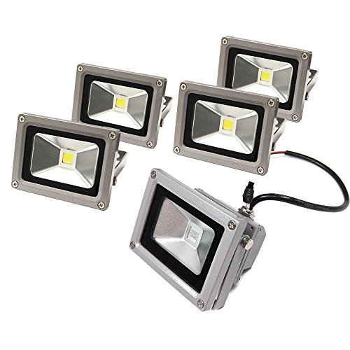 eTopLighting (5 Pack) LEF120V10WW, LED Flood Light, Outdoor Landscape Security Lighting IP65 Resistant, 120V 10W Warm White 700 Lumens, LEF120V10WW(5) ()