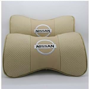 Car Seat Neck Rest Belt & Headrest Pads Pillow 2pcs Nissan Air Hole Cow Leather