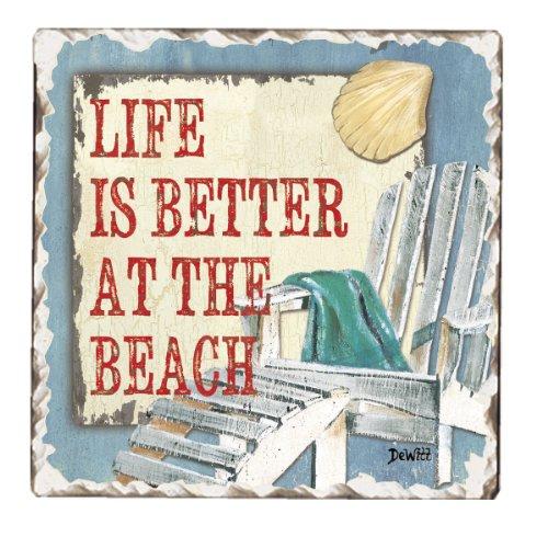 CounterArt Tumbled Tile Coasters, Beach Time, Set of (Theme Counter)