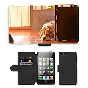 PU LEATHER case coque housse smartphone Flip bag Cover protection // M00133291 Perro Beagle contaluz Luz Puerta // Apple iPhone 4 4S 4G