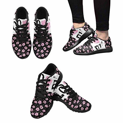 InterestPrint Womens Jogging Running Sneaker Lightweight Go Easy Walking Casual Comfort Running Shoes Romantic Background With Lips Multi 1 GPHMnBm