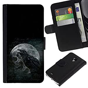 // PHONE CASE GIFT // Moda Estuche Funda de Cuero Billetera Tarjeta de crédito dinero bolsa Cubierta de proteccion Caso Samsung Galaxy S4 Mini i9190 / Raven & Skull /