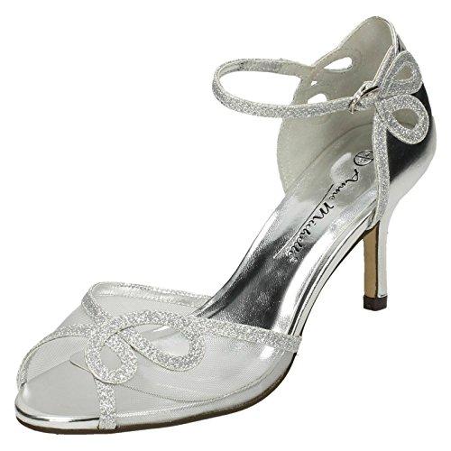 Anne Michelle Ladies Mid Heel Sandals Silver