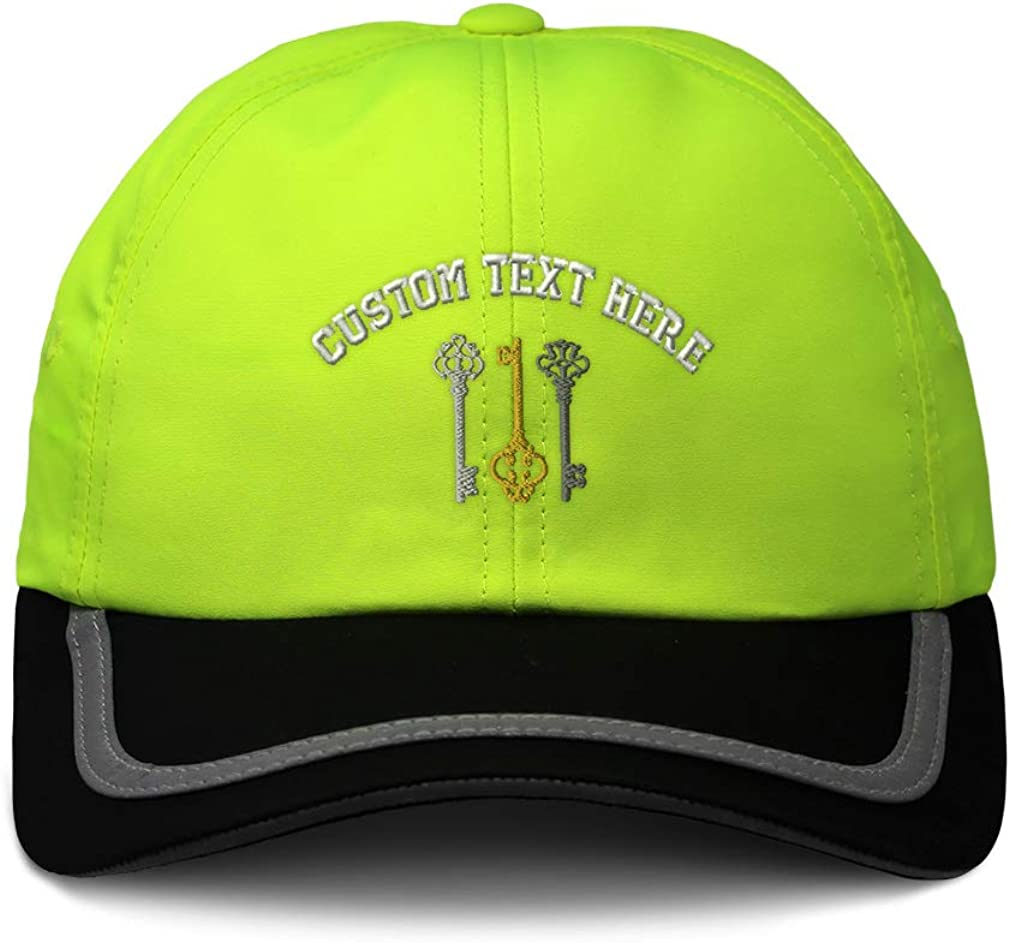 Custom Reflective Running Hat Three-Color Vintage Keys Embroidery One Size