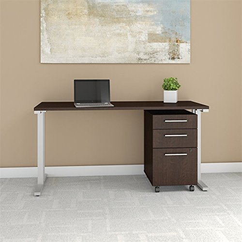 Bush Business Furniture 400 Series 60W x 24D Table Desk with 3 Drawer Mobile File Cabinet in Mocha Cherry