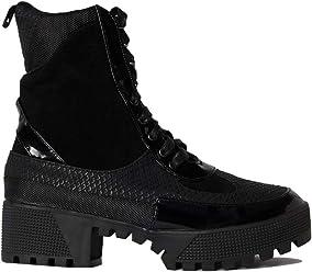 0be679095b86 CAPE ROBBIN Cape Robbin Lace Up Lug Sole Chunky Heel Paneled Military  Combat Boots