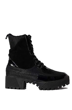 f1b058d88ac CAPE ROBBIN Cape Robbin Lace Up Lug Sole Chunky Heel Paneled Military  Combat Boots-BLACK_5