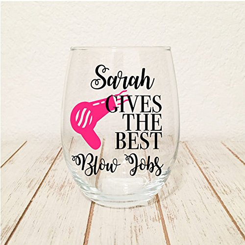 My Stylist Gives The Best Blow Jobs Hair Stylist Gift - 21oz Large Stemless Wine Glass - Cursive Name Customization