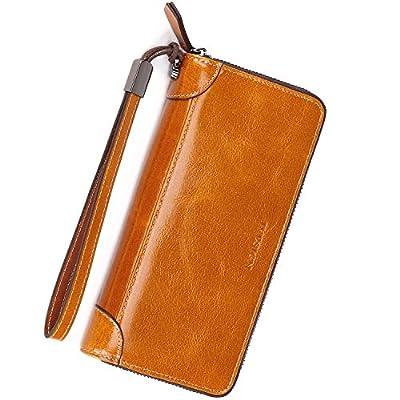 IVESIGN Women's Wax Genuine Leather Wallet RFID Blocking Credit Card Holder Organizer Purse With Wristlet